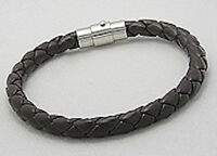 "8"" Saddle Brown Braided Vegan Leather Bracelet"