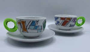 Guzzini Cappuccino Mugs Set of Two Cups & Saucers Made In Italy NEW IN BOX