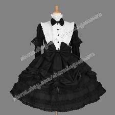 Victorian Gothic Lolita Romantic Cotton Black White Reenactment Punk Dress New