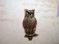 Large Oxidized Brass Owl Stamping (1) - BOGB6076