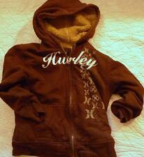 HURLEY Size 7 Cotton Poly LINED Brown Sweatshirt Hoodie Front Zipper