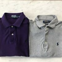 Polo Ralph Lauren Size Medium Long Sleeve Lot two Polo shirts Grey Purple mint