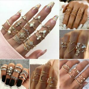 2021 Fashion Women Boho Retro Silver/Gold Finger Knuckle Rings Set Jewelry Gift