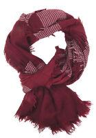 Women's Scarf Red White Ella Jonte Lightweight Schal Fringes Cotton Rayon Unisex