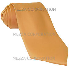 New Vesuvio Napoli Men's necktie solid color 100% polyester wedding prom Gold
