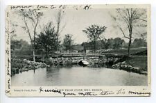 Medway MA Mass stone arch bridge 1906, falls in distance