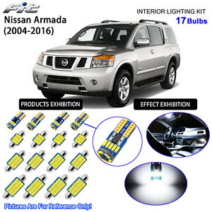 17 Bulbs LED Interior Light Kit Xenon Cool White For 2004-2016 Nissan Armada