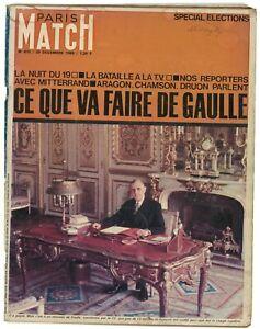 Paris Match no 872 Dec 25 1965 Charles de Gaulle cover Sean Connery inside