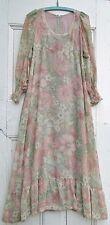 VINTAGE 1960s 1970s women's MAXI DRESS S Cotton Mix Floral Pink Hippy Boho