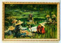 Tableau, scène champêtre avec des femmes assises dans un pré, style post-impress