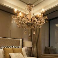 élégant Lustre en cristal plafonnier 4 feux lampe luminaire pampilles Chandelier