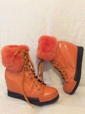 W2 Paris Orange Ankle Leather Boots Size 38