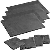 Natural Elegant Slate Dining Table Coasters & Placemats Set Dinner Party Sets