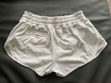 Womens Lululemon Exercise Workout Shorts White Size 2 Vguc Builtins