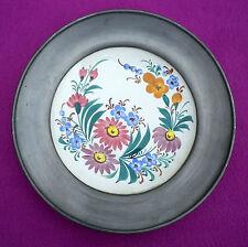 Vintage Hand Painted Handgemalt Wall Plate Pewter Rim / Collar Floral Design