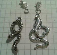 "TIBETAN SILVER(2) CHARMS"" SNAKES ""LOBSTER CLASP FOR BRACELETS"