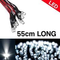 50pcs Pre Wired 8mm LED White 55cm Prewired 12V Light Emitting Diode US Stock