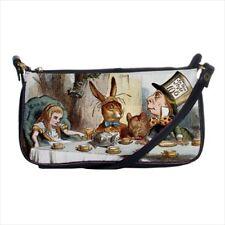 Alice In Wonderland Mad Hatter Tea Party Art Black Shoulder Clutch Bag Purse
