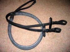 "FSS German Leather Buckle Rubber Grip Reins Black 58"""