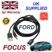 For Ford Focus Samsung HTC & LG Sony Nokia Micro USB & 3.5mm Aux Audio Cable Bl