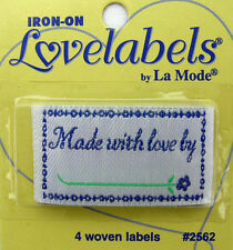 MADE WITH LOVE BY Woven Labels (Qty-4) Iron-On/Sew-In