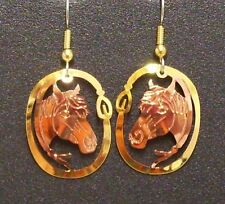 Hand Made Copper and Gold Western Design Dangle Earrings Horsehead in Lariat