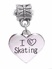I Heart Skating Love Figure Skater Gift Dangle Charm for European Bead Bracelet