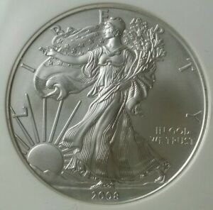 2008 W Burnished $1 American Silver Eagle Dollar Reverse of 2007 NGC MS70