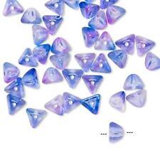 8527 Glass Beads Pyramid 6mm PK40 Lilac/Blue *UK EBAY SHOP*