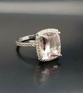 Ladies Morganite and Diamond Dress Ring 18ct White Gold Size M