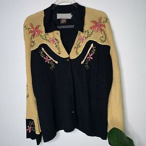 DOUBLE D RANCH  Beaded Western Shirt Knit Jacket Button Down