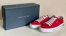 NEW! TOMMY HILFIGER FLINT WOMEN'S RED LACE-UP CANVAS SNEAKERS SHOES 8 38 SALE
