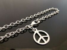 "3mm Genuine 925 Sterling Silver Bracelet Chain ~ Peace Symbol Charm 7.5"" (19cm)"