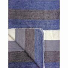 SOFT & WARM BLUE STRIPED ALPACA WOOL BLANKET 230x170 cm PLAID HANDMADE ECUADOR