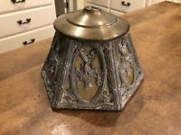 Vintage Cast Gothic Light Fixture Pendant Hanging Light Antique Slag Glass Shade