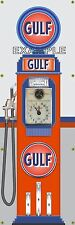 GULF STATION OLD TOKHEIM VINTAGE CLOCKFACE GAS PUMP BANNER SIGN MURAL ART 2'X6'