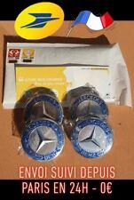 4 Logos Mercedes Cache Moyeu Jante Centre De Roue Gris & Bleu Aluminium 75mm