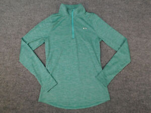 Under Armour Womens 1/4 Zip Pull Over Small Petite Thumbholes Lightweight Green