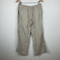 Atmosphere Womens Pants Size 10 Pure Linen Beige With Pockets