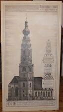 Hannes Rischert,Orig. Tuschezeichnung,St. Stephan Braunau,Bauchronik,152x81,5 cm