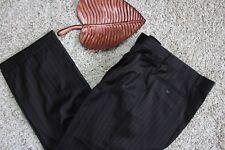 CHAPS Mens 33x26 Black Gray Pinstriped Wool Dress Slacks Pleated Cuffed Pants
