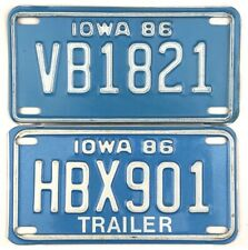 1986 Iowa MOTORCYCLE & MOTORCYCLE TRAILER License Plate Set No Reserve
