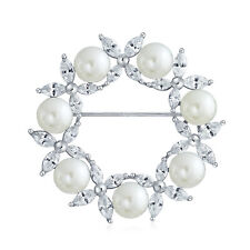 Marquise CZ Round White Simulated Pearl Wreath Circle Scarf Brooch Pin