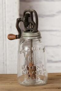 Primitive Retro Butter Churn Glass Mason Jar Crank Lid Rounded