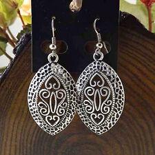 Dangle Earrings Ethnic Tribal Aztec Hippy Boho Indian Silver Tibetan Oval Small