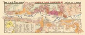 CHAMPAGNE VINEYARD MAP Vallée de la Marne. Ay Mareuil Dizy-Magenta. LARMAT 1944