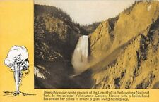 Yellowstone National Park postcard Great Fall Burlington Route train advertising