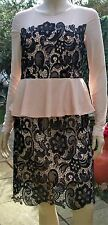 Alice & You Nude Black Lace Mesh Overlayer Peplum Party Cocktail Dress Size 12