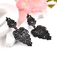 Women Boho Alloy Pierced Long Dangle Drop Black Leaves Earrings Fashion Jewelry