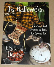 "Blackbird Designs ""Tis Halloween"" 13 Stockings & Cross Stitch Project Patterns"